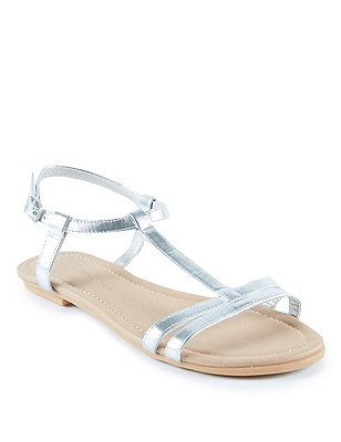 T-Bar Sandals, METALLIC, catlanding