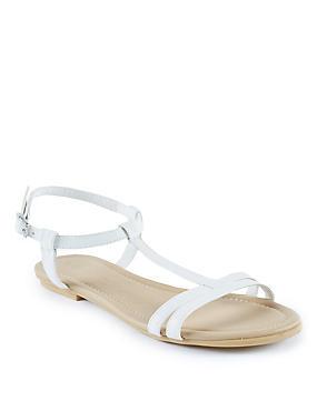 T-Bar Sandals, WHITE, catlanding