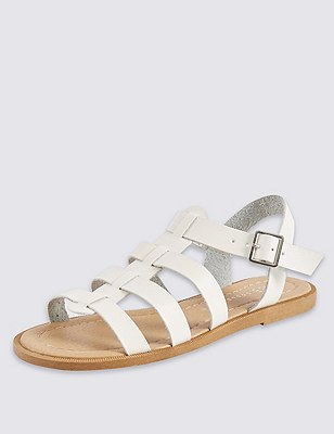 Fisherman Sandals, WHITE, catlanding