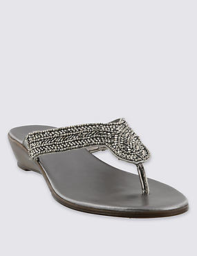 Embellished Bling Wedge Sandals, PEWTER, catlanding