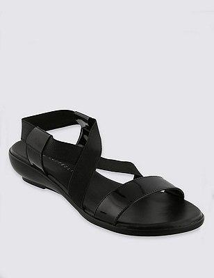 Crossover Wedge Sandals, BLACK, catlanding