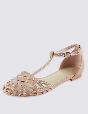 Embellised Stud T-Bar Sandals