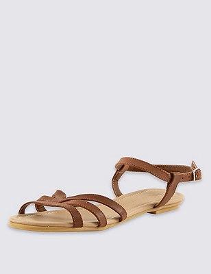 Ankle Strap Sandals, TAN, catlanding