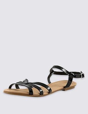Ankle Strap Sandals, BLACK, catlanding