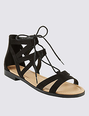 Ghillie Lace Up Block Heel Sandals, BLACK, catlanding