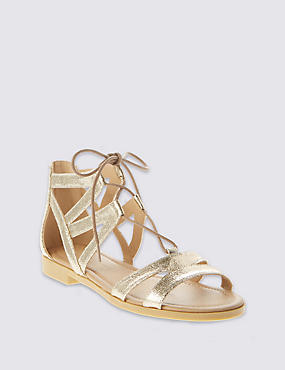 Ghillie Lace Up Sandals, GOLD, catlanding