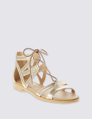 Ghillie Lace Up Sandals, GOLD, catlanding