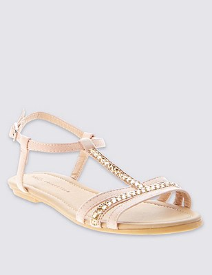 Graphic Bling T-Bar Sandals with Insolia Flex®, NUDE, catlanding
