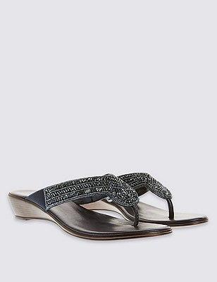 Beaded Wedge Mule Sandals, NAVY, catlanding