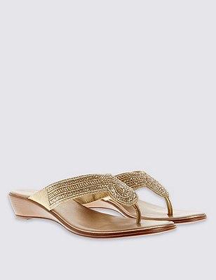 Beaded Wedge Mule Sandals, NUDE, catlanding