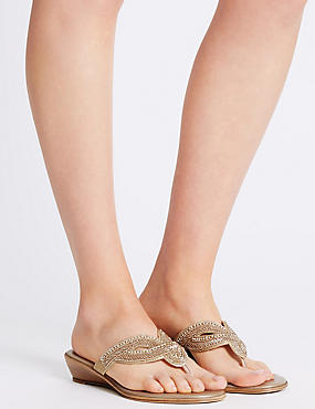 Wedge Heel Mule Sandals, NUDE, catlanding