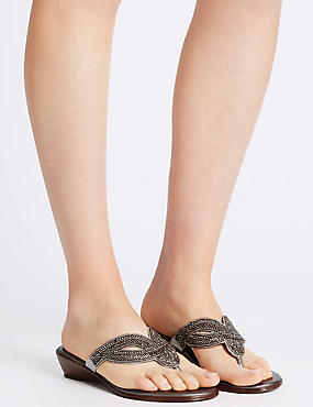 Wedge Heel Mule Sandals, PEWTER, catlanding