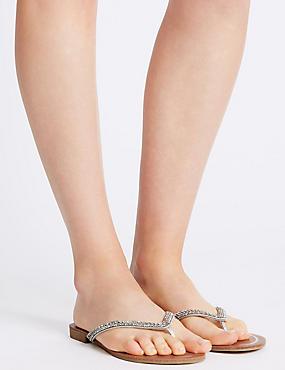 Skinny Diamante Flip-flops , SILVER, catlanding