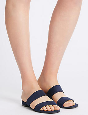 Two Band Mule Sandals, NAVY, catlanding