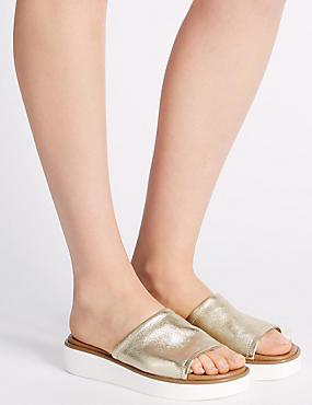 Sandales en cuir à semelle plate, OR, catlanding