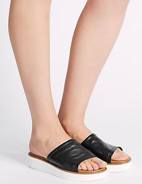 Sandales en cuir à semelle plate, NOIR, catlanding