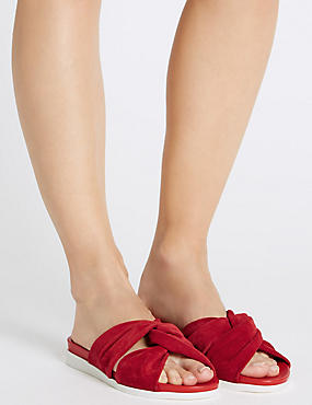 Leather Knot Slide Sandals, RED, catlanding