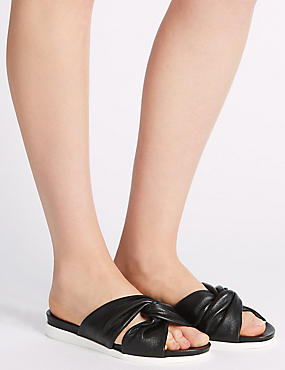 Leather Knot Slide Sandals, BLACK, catlanding