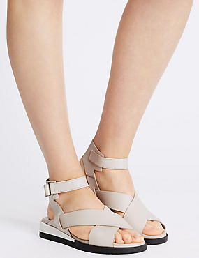 Sandales de sport plates en cuir à bande auto-agrippante, ROSE DISCRET, catlanding