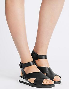 Sandales de sport plates en cuir à bande auto-agrippante, NOIR, catlanding