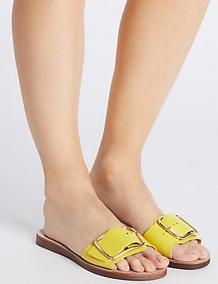 Leather Buckle Sandals, OCHRE, catlanding