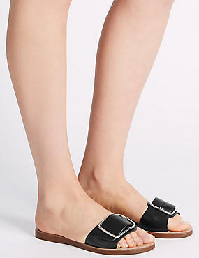 Leather Buckle Sandals, BLACK, catlanding