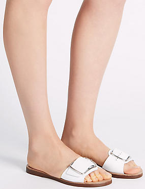Leather Buckle Sandals, WHITE, catlanding