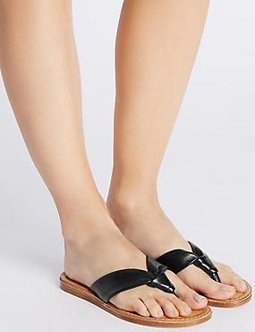 Leather Tubular Toe Sandals, BLACK, catlanding