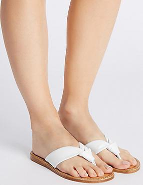 Leather Tubular Toe Sandals, WHITE, catlanding