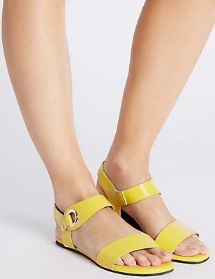 Block Heel Ring Detail Sandals, OCHRE, catlanding