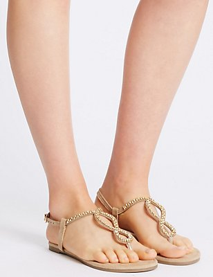 Buckle Twisted Sandals, GOLD, catlanding