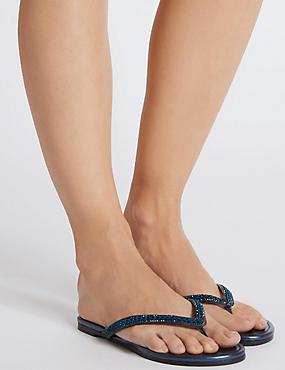 Sandales fines, ornées de strass, BLEU NUIT, catlanding