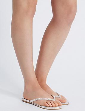Sparkle Toe Thong Flip Flops, SILVER, catlanding