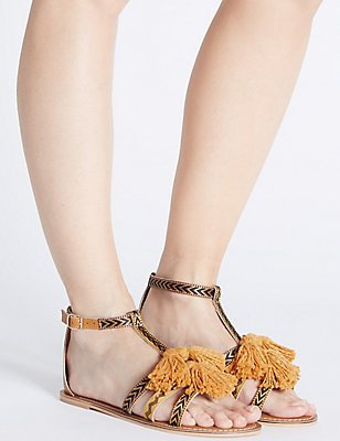 Leather Tassel Sandals, OCHRE, catlanding