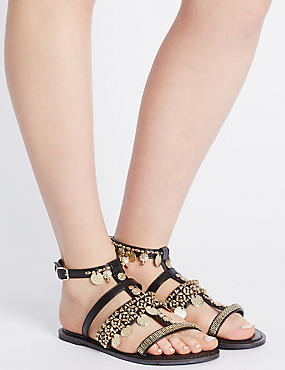 Buckle Coin Detailed Sandals, BLACK MIX, catlanding