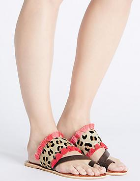 Sandales en cuir style mules à imprimé animal et pampilles, MARRON ASSORTI, catlanding
