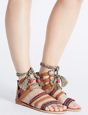 Leather Lace Up Rope Tie Sandals, TAN, catlanding