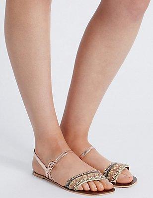 Leather Embellished Sandals, GOLD, catlanding