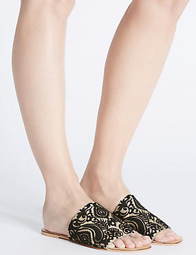 Embroidered Mule Sandals, BLACK MIX, catlanding