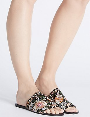 Embroidered Mule Sandals, MULTI, catlanding