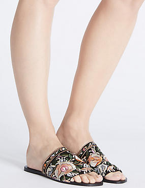 Embroidered Mule Sandals, MULTI, catlanding