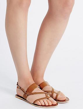 Leather Plait Strap Sandals, TAN, catlanding
