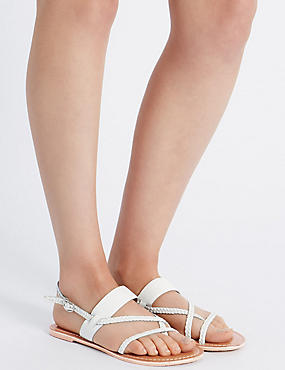 Leather Plait Strap Sandals, WHITE, catlanding