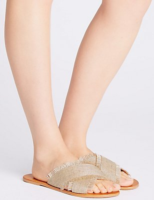 Cross Strap Sandals, NEUTRAL, catlanding