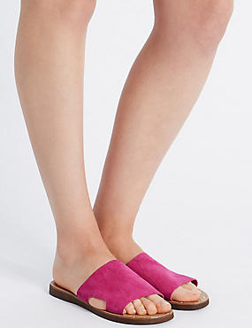 Leather Cut Out Mule Shoes, PINK, catlanding