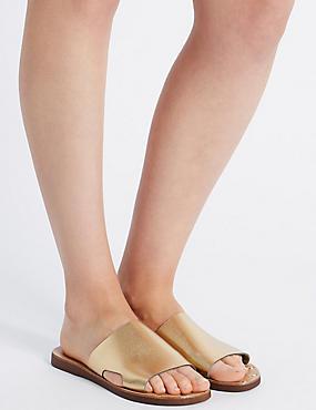 Leather Cut Out Mule Shoes, BRONZE, catlanding