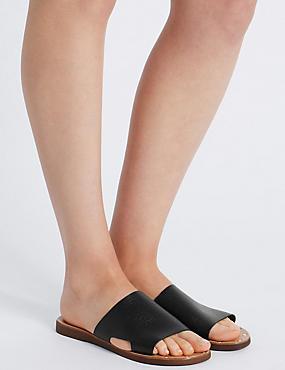 Leather Cut Out Mule Shoes, BLACK, catlanding