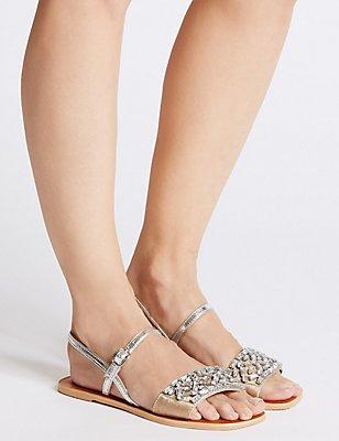 Embellished Back Strap Sandals, SILVER, catlanding