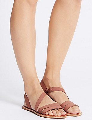 Leather Asymmetric Sandals, BLUSH, catlanding