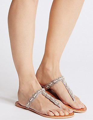 Beaded Toe Sandals, SILVER, catlanding